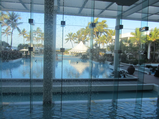 View of the beach from inside the Sheraton Mirage.