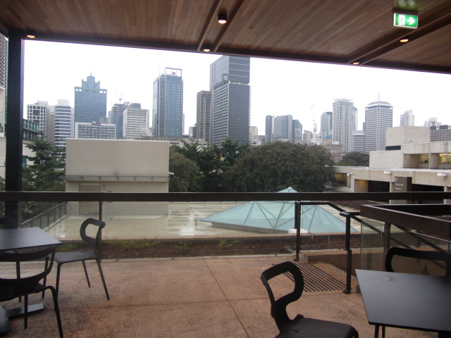 View of Brisbane city from the Brisbane Museum Cafe top deck.