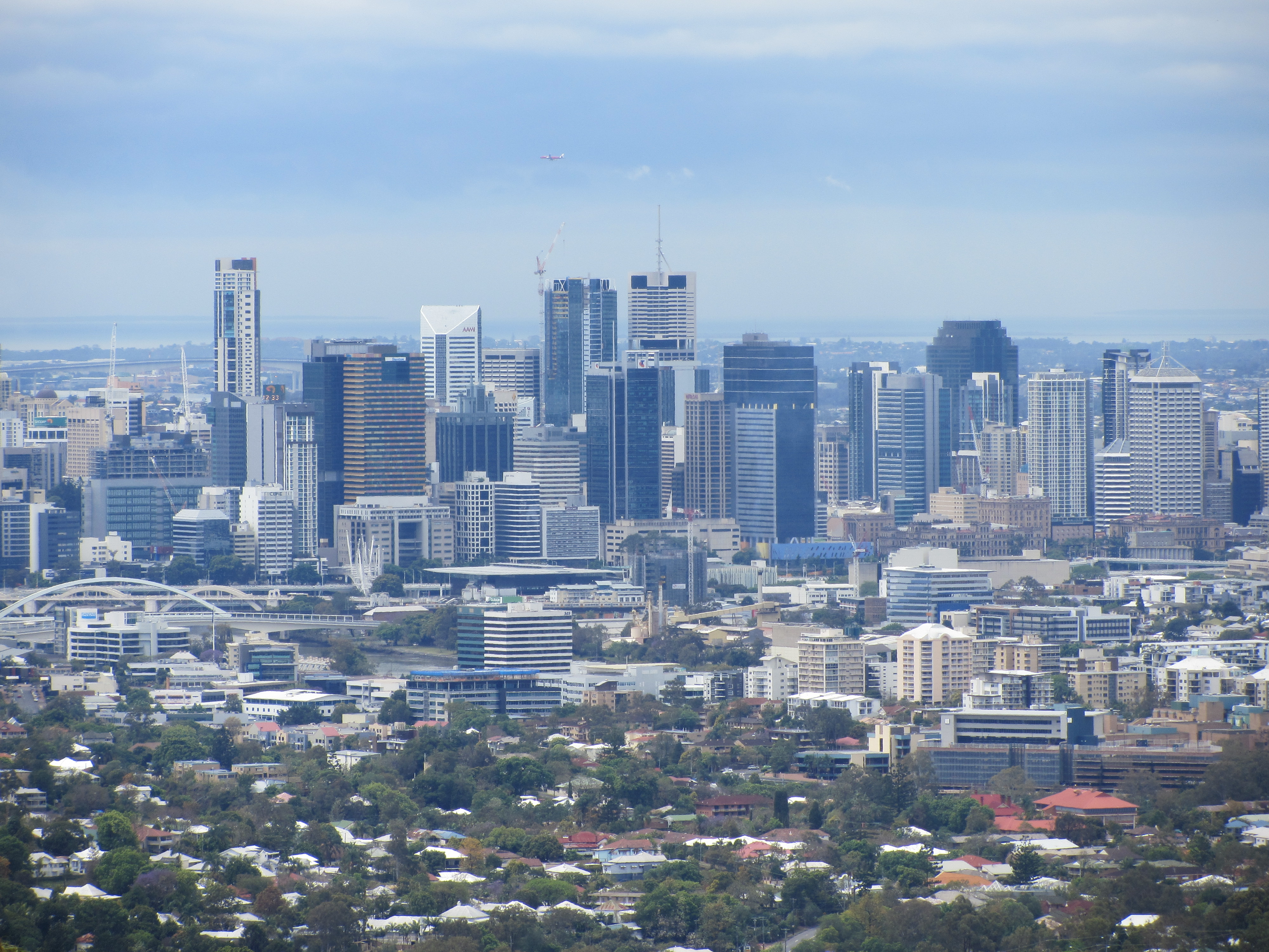 A picture of Brisbane city from Mt Cootha.