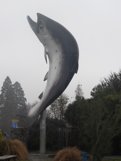 Giant Salmon Statue at Rakaia, New Zealand.