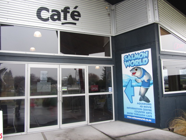 Entry to Salmon World Cafe, Rakaia, New Zealand.