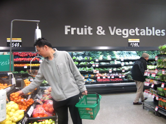HRH picking up fruit at New World Supermarket, Ashburton, New Zealand.
