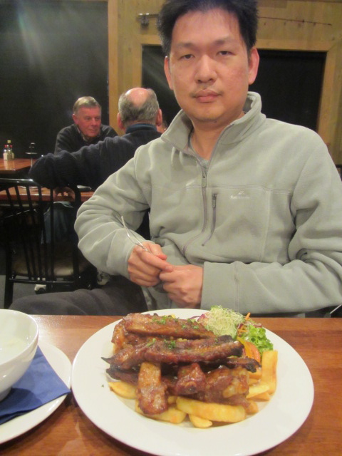 HRH and his ribs in Cromwell, New Zealand.
