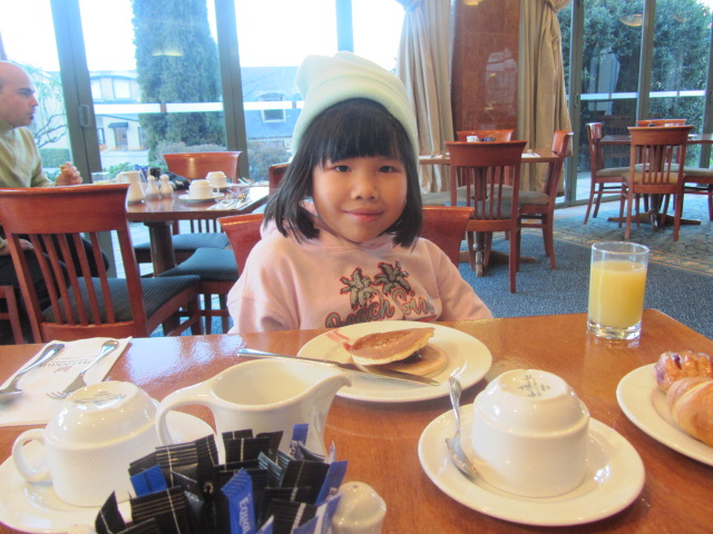 Amanda at breakfast, Millennium Hotel, Queenstown, New Zealand.