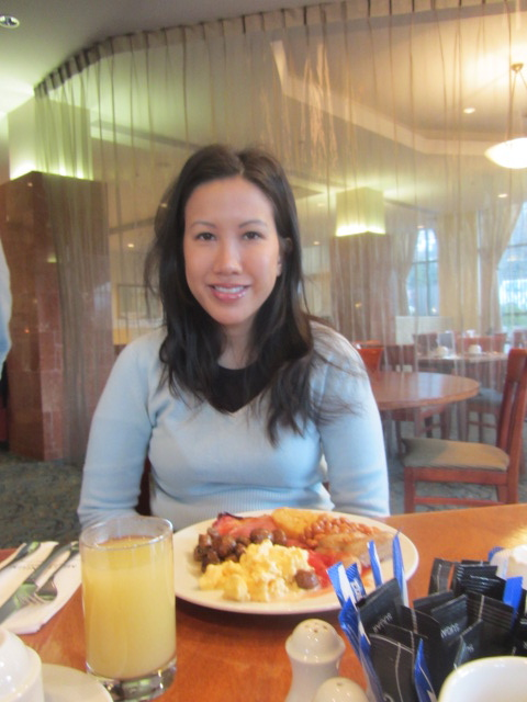 Me at breakfast, Millennium Hotel, Queenstown, New Zealand.
