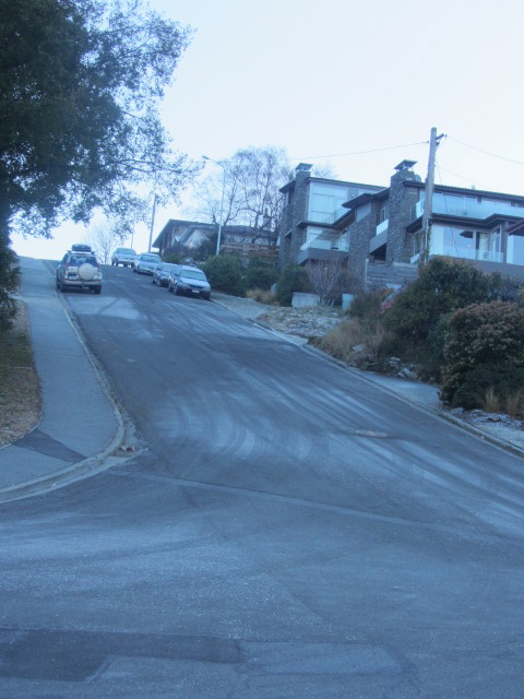 A picture of the steep street we came down in Queenstown, New Zealand.