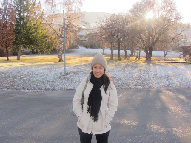 A picture of me with my back to a ice-covered park in Queenstown, New Zealand.
