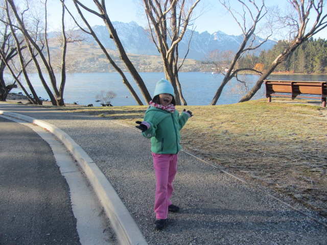 A picture of Amanda doing her current favourite pose by Lake Wakatipu in Queenstown, New Zealand.