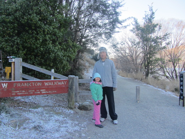 A picture of HRH and Amanda at the start of a walk around Lake Wakatipu in Queenstown, New Zealand.