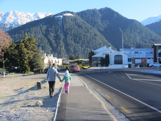 A picture of HRH and Amanda walking towards town in Queenstown, New Zealand.