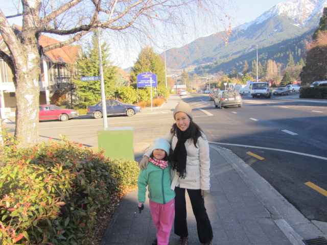 "A picture of Amanda and I with the ""Adelaide St"" sign on our way to town in Queenstown, New Zealand."