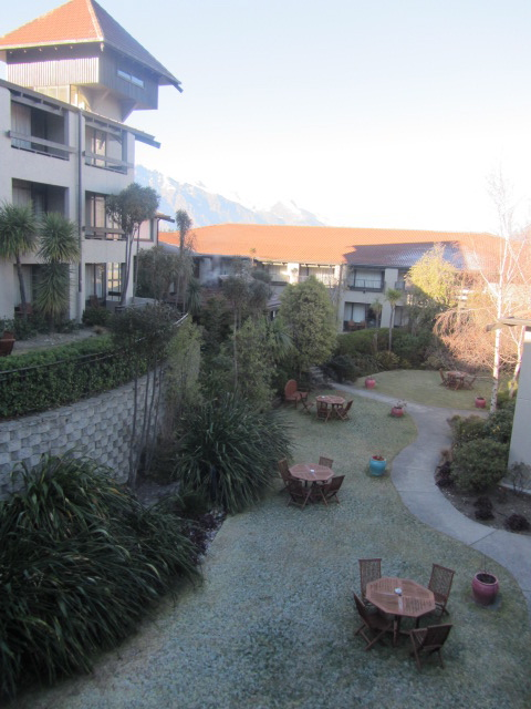 A picture of the courtyard at the Copthorne Hotel in Queenstown, New Zealand.