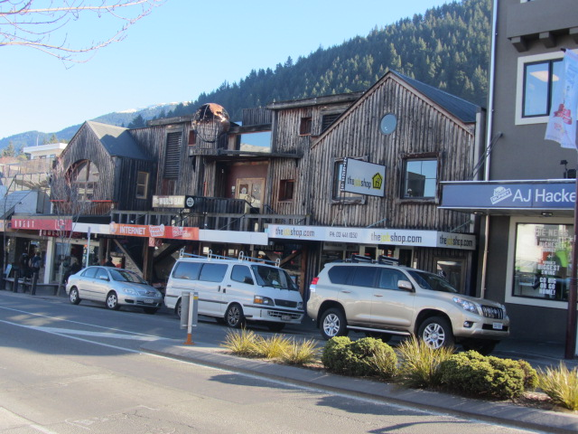 A picture of a wooden shop in Queenstown city centre.