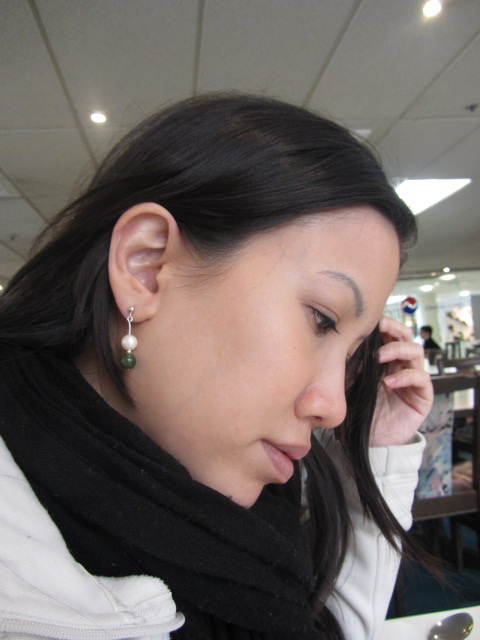 A picture of me wearing the new earring HRH bought me in Queenstown, New Zealand.