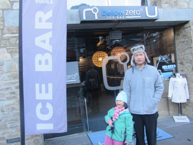 A picture of HRH and Amanda outside one of a couple of ICE BARS in Queenstown, New Zealand.
