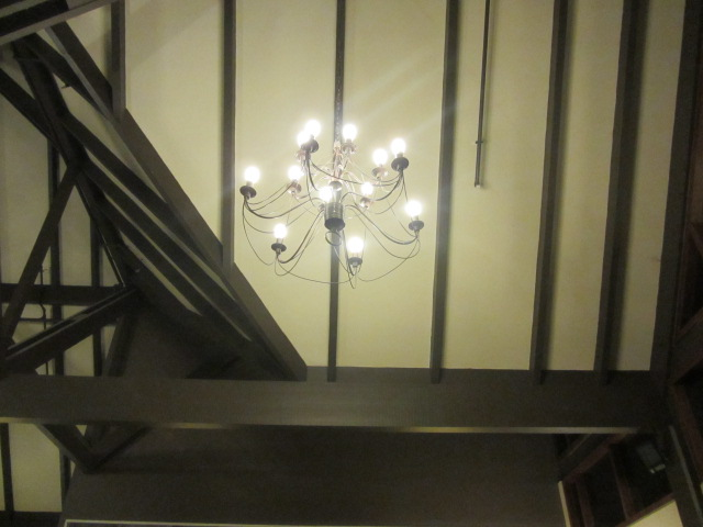 A picture of a chandelier in the restaurant at the Copthorne Hotel, Queenstown, New Zeal