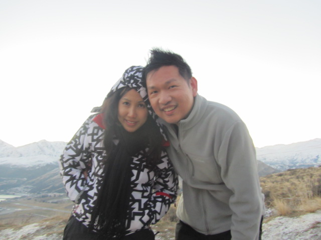 A picture of HRH and me after a day at The Remarkables in New Zealand.