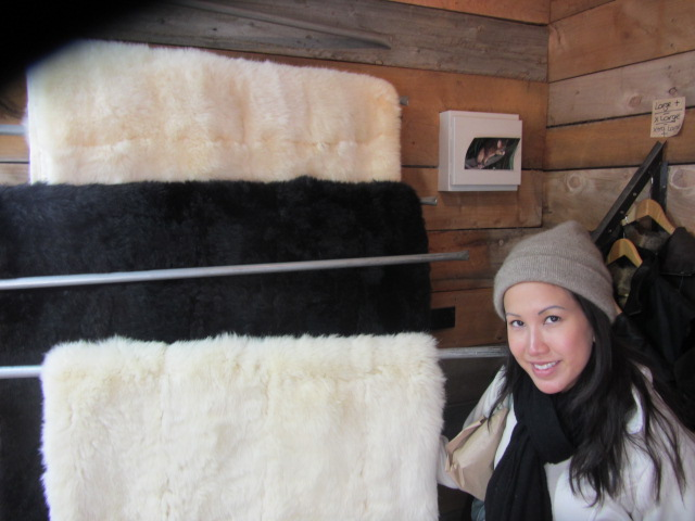 A picture of me with a possum fur bedspread at Glenorchy's Furs in Queenstown New Zealand.