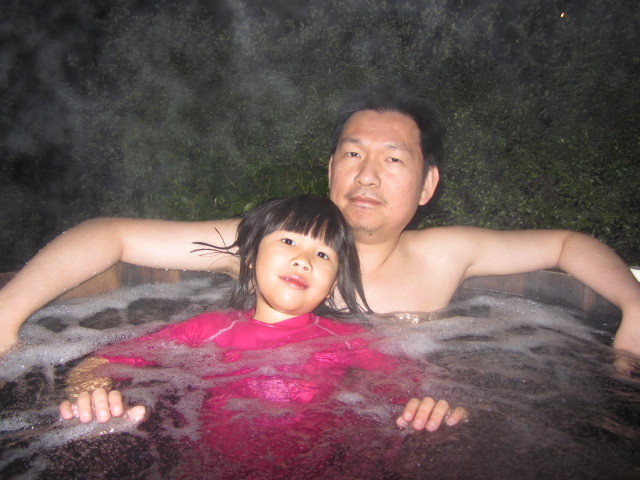 A picture of HRH and Amanda in the hot tub at St Moritz in Queenstown, New Zealand