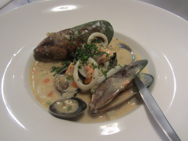 A picture of my seafood chowder at FINZ restaurant in Queenstown, New Zealand.