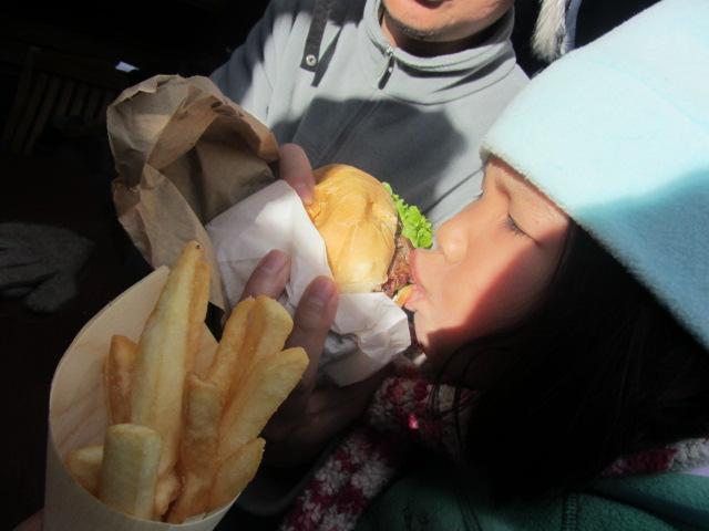 A picture of Amanda tucking into her Ferg Burger.
