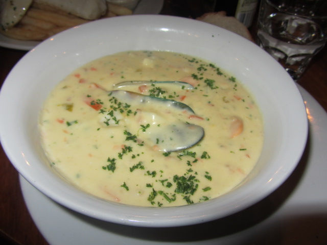A picture of my seafood chowder at the Wanaka Ale House in Wanaka, New Zealand.