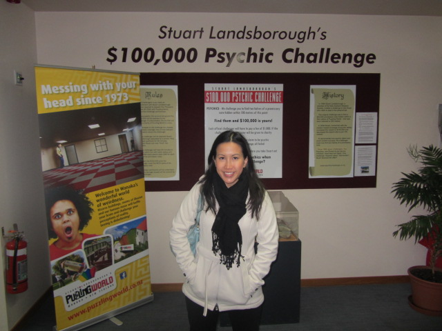 A picture of me and Stuart Landsborough's Psychic challenge at Puzzling World, Wanaka, New Zealand.
