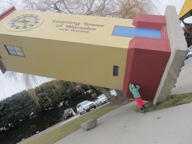 A picture of Amanda at Puzzling World in Wanaka, New Zealand.