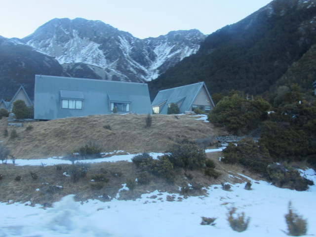 A picture of some of the cabins in the village on Mt Cook, New Zealand.