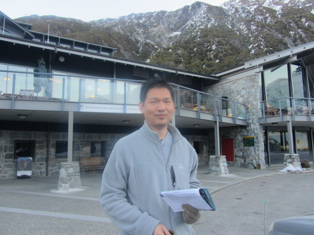 A picture of HRH outside The Hermitage Hotel on Mt Cook, New Zealand.