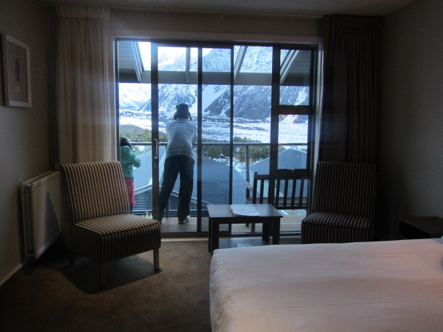 A picture of HRH and Amanda on our hotel balcony at The Hermitage on Mt Cook in New Zealand