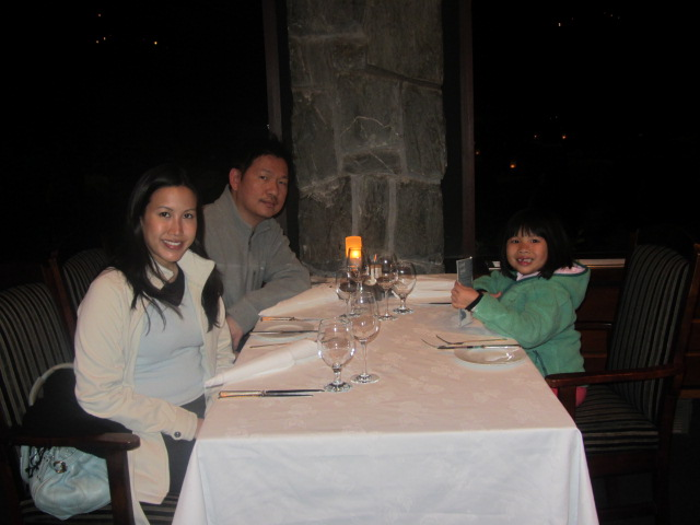 A picture of us in the restaurant at The Hermitage on Mt Cook in New Zealand.