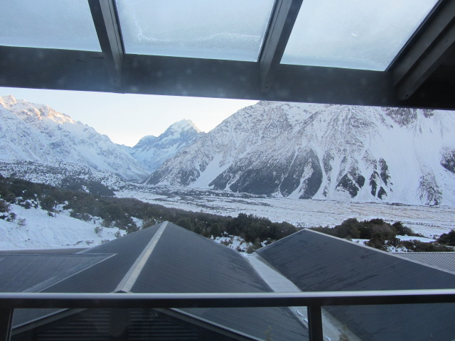 A picture of the view from my hotel balcony at The Hermitage on Mt Cook, New Zealand.