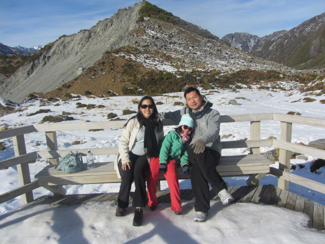 A picture of the three of us at the snout of Mueller Glacier from Kea Point on Mt Cook in New Zealand