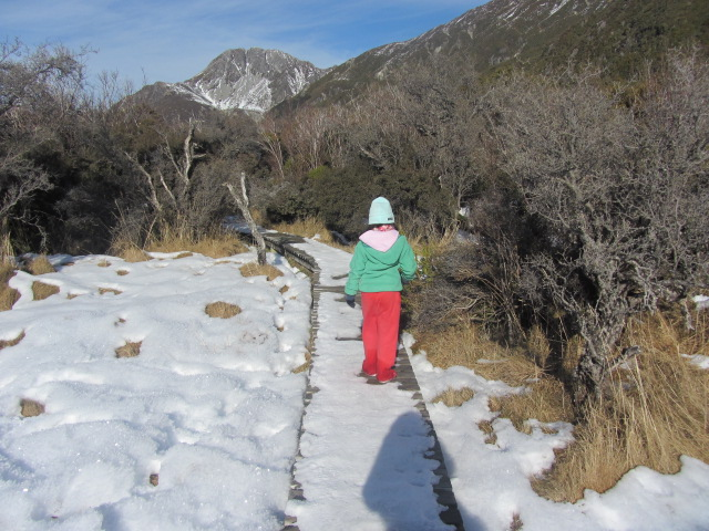 A picture of Amanda on the way back to our car at The Hermitage after our trek to Kea Point on Mt Cook in New Zealand.
