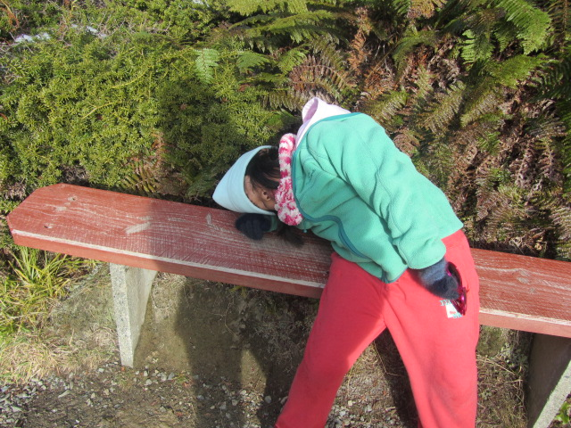 A picture of Amanda resting on her way back to The Hermitage on Mt Cook, New Zealand.