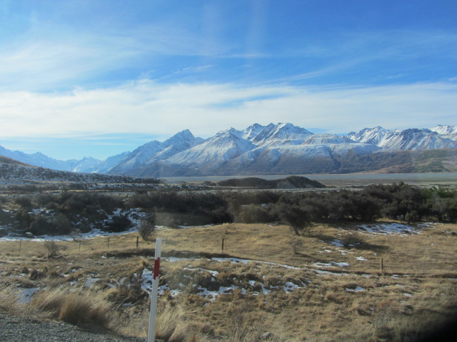 A picture of the scenery coming from from Mt Cook in New Zealand.