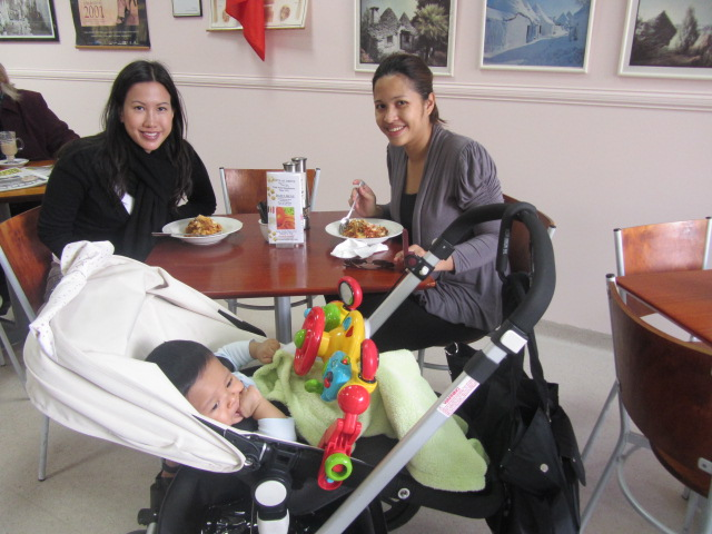 A picture of me and Inci having breakfast at Pasta Al Dente in West End.