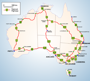 A map of National Highways in Australia.