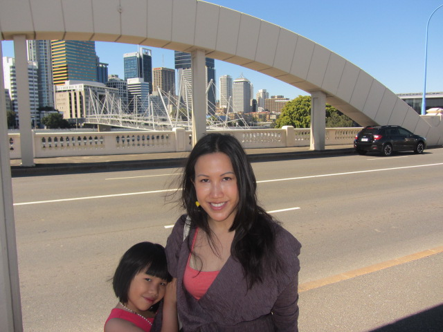 A picture of Amanda and I on the William Jolly Bridge in Brisbane.