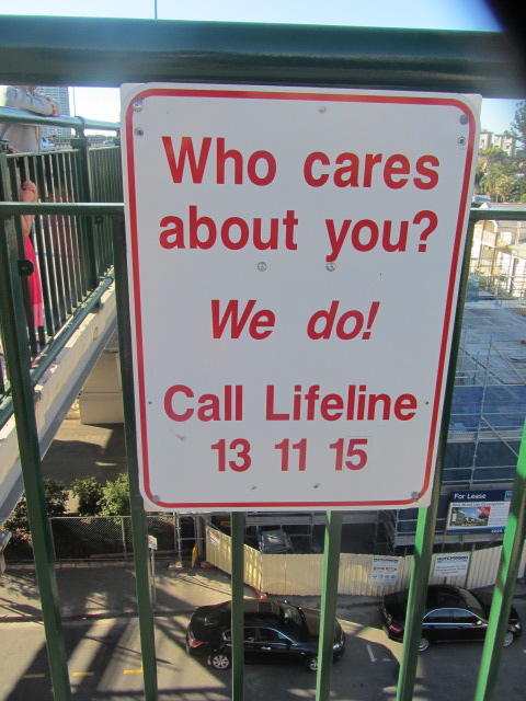 A picture of a Lifeline sign on the Story Bridge in Brisbane.
