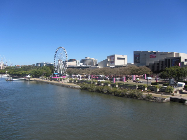 A picture of Southbank from the Victoria Bridge in Brisbane.