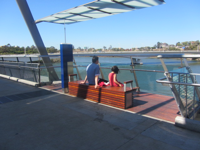 A picture of HRH and Amanda having a break on the Goodwill Bridge in Brisbane.