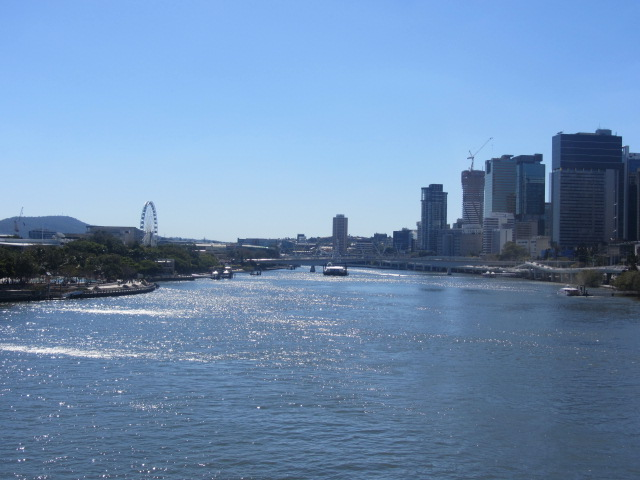 A picture of Southbank and Brisbane CBD from the Goodwill Bridge.