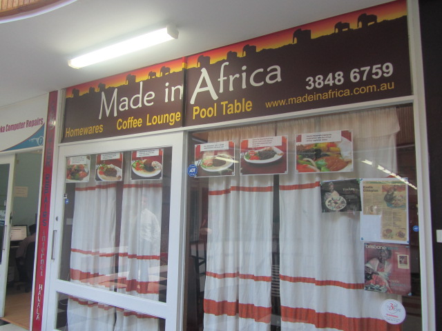 A picture of the shop front of Made in Africa in Moorooka, Brisbane.