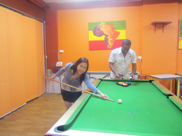 A picture of me at the pool table at Made in Africa in Moorooka, Brisbane.