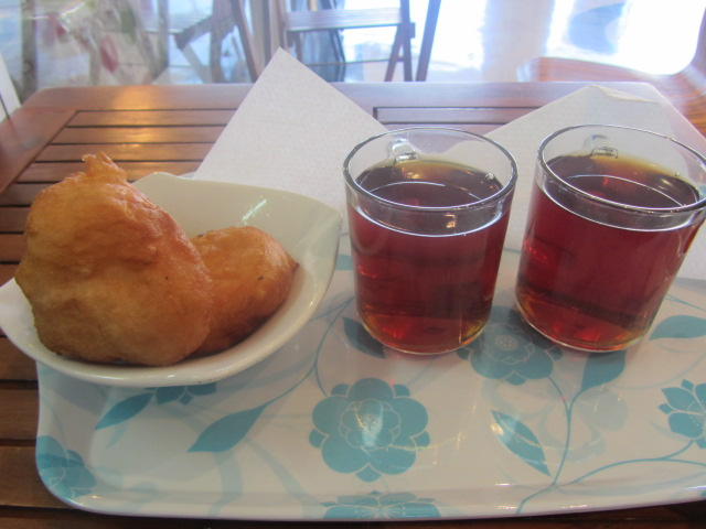 A picture of our donuts and tea in Moorooka, Brisbane.