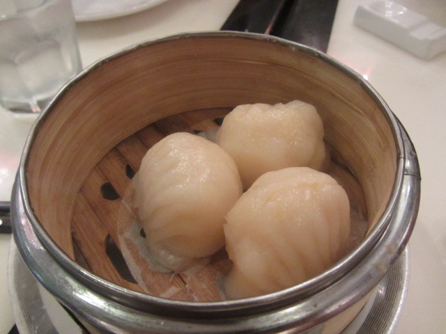 A picture of prawn dumplings at Bamboo Basket in Southbank, Brisbane.