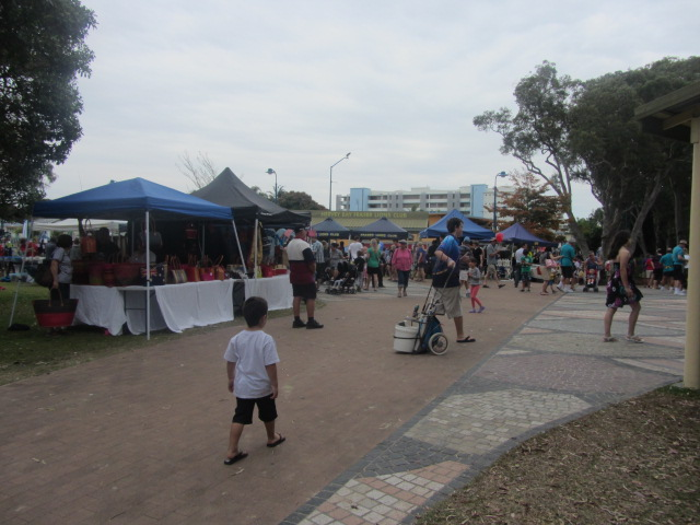 A picture of the Sunday Market at the Urangan Pier in Hervey Bay, Queensland.