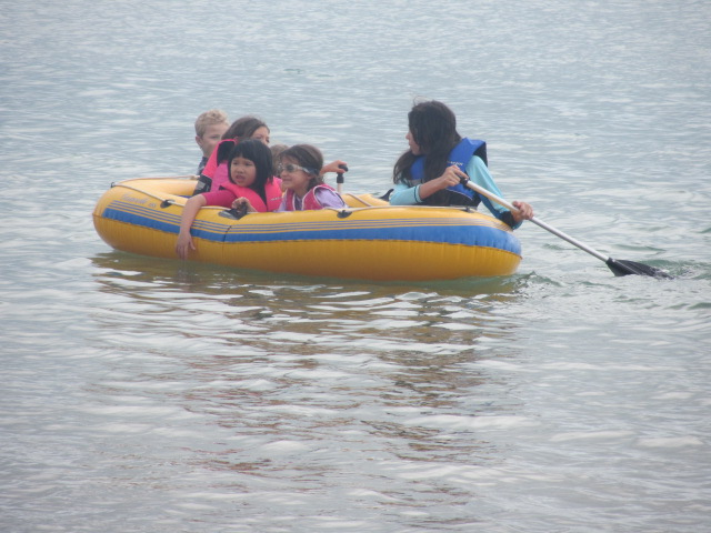 A picture of the kids in Paul's dinghy in Hervey Bay.